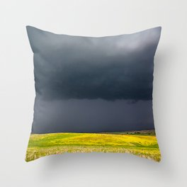 Simply Spring - Thunderstorm Over Yellow Fields in Oklahoma Throw Pillow