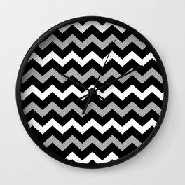 Black White & Grey Chevron Print Pattern Wall Clock