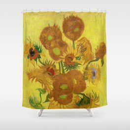 Vincent Van Gogh - Vase with Fifteen Sunflowers Shower Curtain