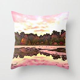 The Salmon Lake. (Painting) Throw Pillow
