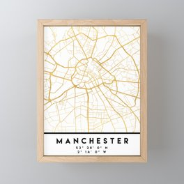 MANCHESTER ENGLAND CITY STREET MAP ART Framed Mini Art Print