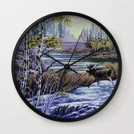 Moose Crossing Wall Clock