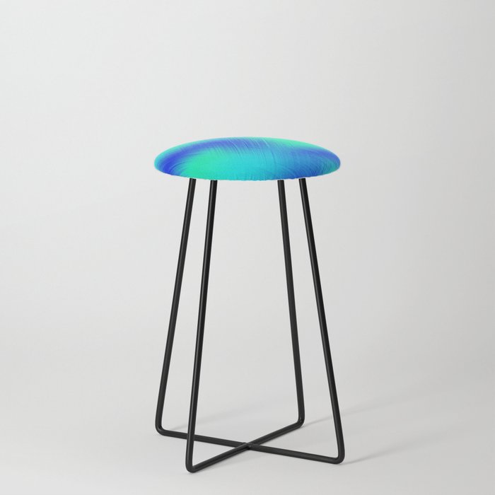Blue And Green Patches Counter Stool By Leatherwooddesign