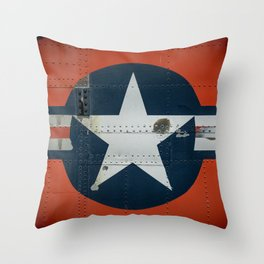Aircraft Roundel US Air Force Insignia on Orange Airframe Throw Pillow
