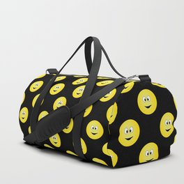 Yellow Smiley Face Black Background Duffle Bag