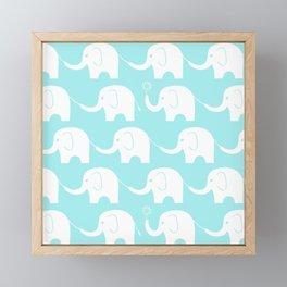 Elephant Parade on Blue Framed Mini Art Print