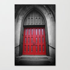Red Door Black and White Photography Canvas Print