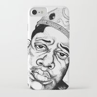 biggie smalls iPhone & iPod Cases featuring Biggie Smalls Stippling by Tom Brodie-Browne