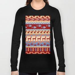 Inca Animals Fish and Birds Pattern Long Sleeve T-shirt
