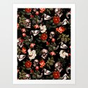 Floral and Skull Dark Pattern by burcukorkmazyurek
