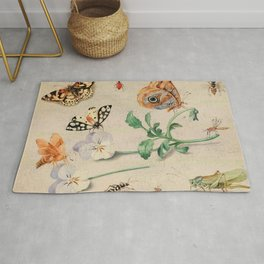"""Jan van Kessel de Oude """"Study of insects and flowers"""" Rug"""