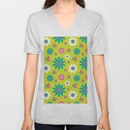 Retro Fall 60's Sunflower Floral in Lime Green Unisex V-Neck