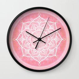 Bohemian Blush Pink & Teal Mandala Wall Clock