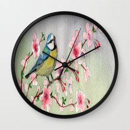 Blue Tit Bird On Cherry Blossom Tree Watercolour Wall Clock