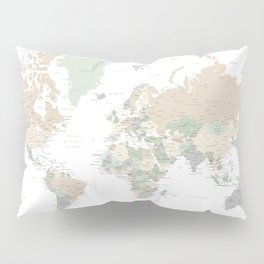 "World map with cities, ""Anouk"" Pillow Sham"