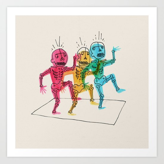 Skeletons Dancing Art Print