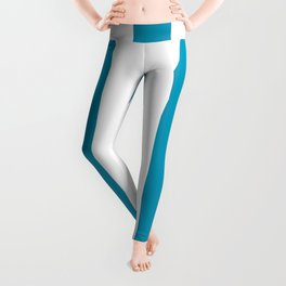 Bondi blue - solid color - white vertical lines pattern Leggings