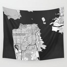 San Francisco Map Gray Wall Tapestry