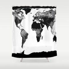 World Map  Black & White Shower Curtain