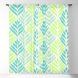 Abstract Lotus - Mint and Aqua Blackout Curtain
