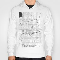 oklahoma Hoodies featuring Oklahoma City Map Gray by City Art Posters