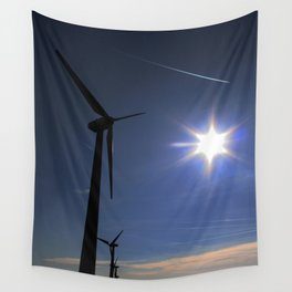 Windfarm and Blue Sky Wall Tapestry