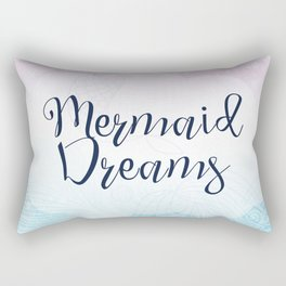 Mermaid Dreams - Pink and Blue Mermaid Waves Rectangular Pillow