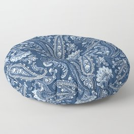 Blue indigo paisley Floor Pillow