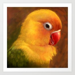 Fischer lovebird realistic painting Art Print