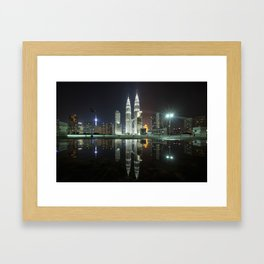 Petronas Towers Reflection Framed Art Print