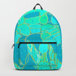 Sea Grotto Abstract, Turquoise, Aqua and Gold Backpack