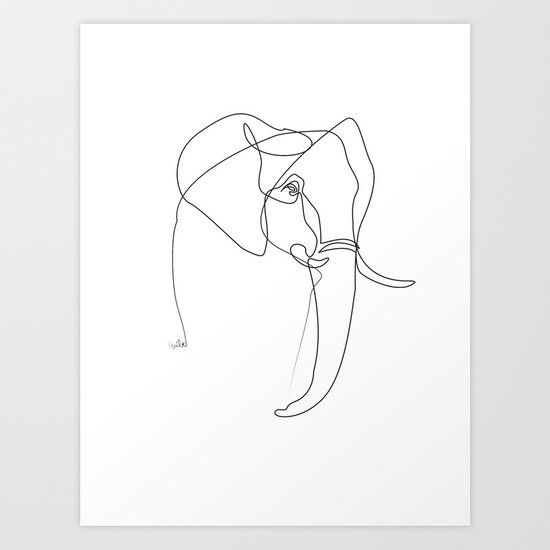 Line Drawing Poster : Elephant line art print by quibe society