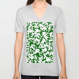 Spots - White and Dark Green Unisex V-Neck