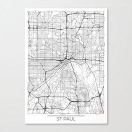 St Paul Map White Canvas Print