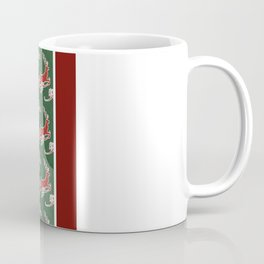 Leaping Reindeer with Holly n Scrolls, Modern Damask Pattern by Audrey Jeanne Coffee Mug