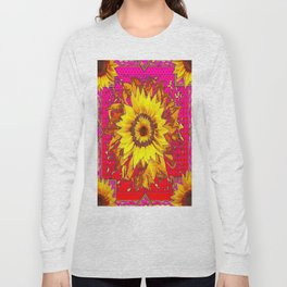 Sumptuous Yellow-Golden Sunflower  on Red Pattern going Fuchsia Abstract Long Sleeve T-shirt