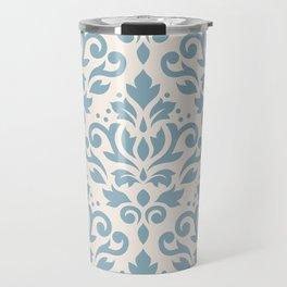 Scroll Damask Large Pattern Blue on Cream Travel Mug