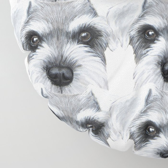 Schnauzer Grey&white, Dog illustration original painting print Floor Pillow