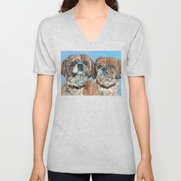 Shih Tzu Buddies Dog Portrait Unisex V-Neck