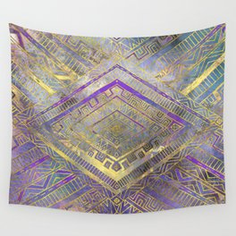 Tribal  Ethnic Boho Pattern gold and gentle purples Wall Tapestry