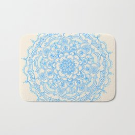 Pale Blue Pencil Pattern - hand drawn lace mandala Bath Mat