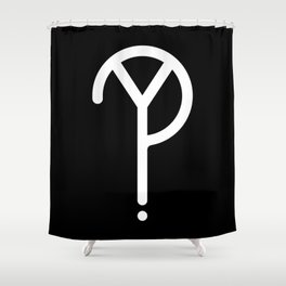 White Y? Symbol  Shower Curtain