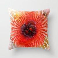 poppy Throw Pillows featuring Poppy by Klara Acel