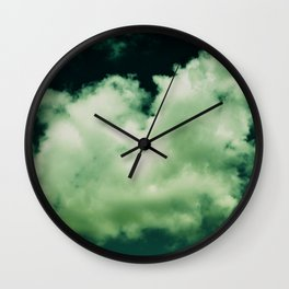 NEPHELAI SERIES Puffy clouds on teal  Wall Clock