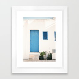 "Travel photography print ""Ibiza blue and white"" photo art made in the old town of Eivissa / Ibiza Framed Art Print"