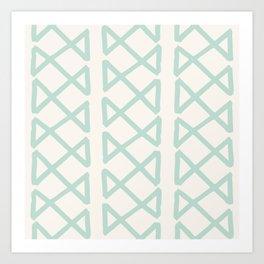 Modern Tribal Pattern in Aqua on Cream Art Print