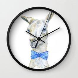 Llama with a Bow Tie Watercolor Wall Clock