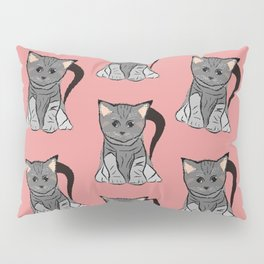 Sweet cats on pink background Pillow Sham