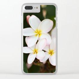 White Plumeria Cluster Clear iPhone Case