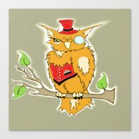 steam punk Canvas Prints featuring Steam Punk Owl by J&C Creations